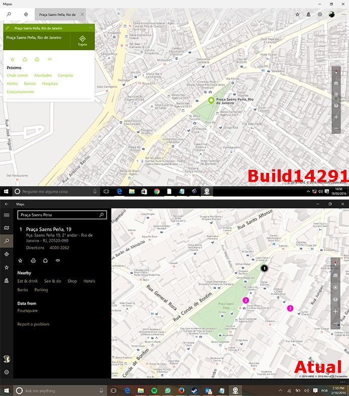 Mapas do Windows 10 ganharam nova interface (Foto: Reprodução/Elson de Souza)