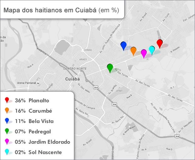 Mapa dos Haitianos em Cuiabá (Foto: G1)