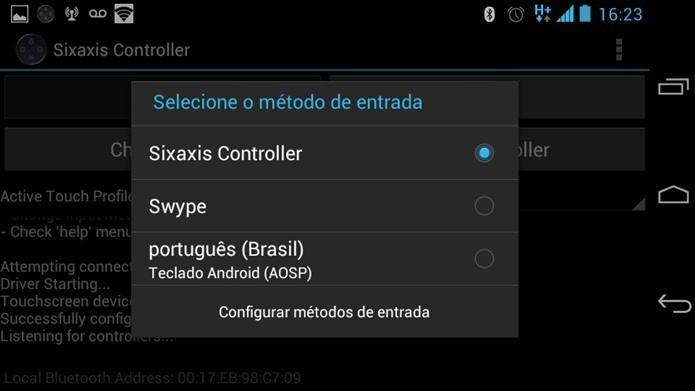 Para que o joystick funciona é preciso mudar o método de entrada. (Foto: Reprodução / Dario Coutinho)