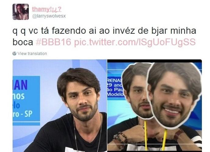 Meme Renan beijo na boca, BBB16 (Foto: Reprodução Internet)