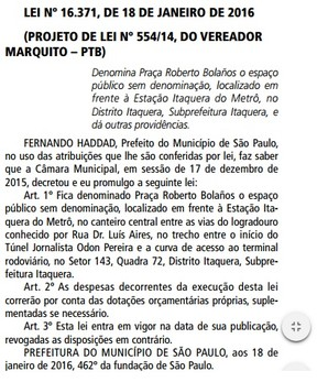 Decreto transforma Roberto Bolaños em nome de praça em São Paulo (Foto: Reprodução Diário Oficial)
