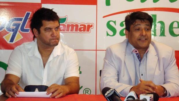 Sandro Goiano, novo gerente de futebol do América-SP, e o investidor Dimas Macedo (Foto: Marcos Lavezo/Globoesporte.com)