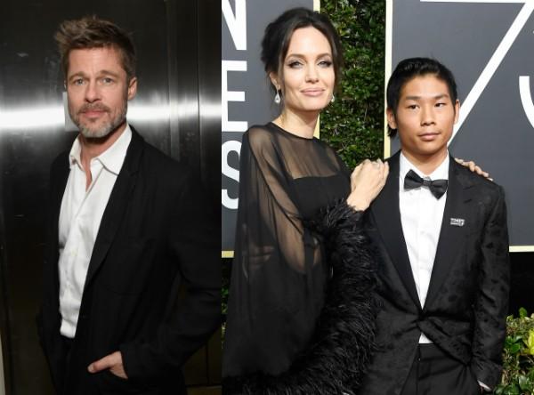 Brad Pitt e Angelina Jolie com Pax no Globo de Ouro 2018 (Foto: Getty Images)