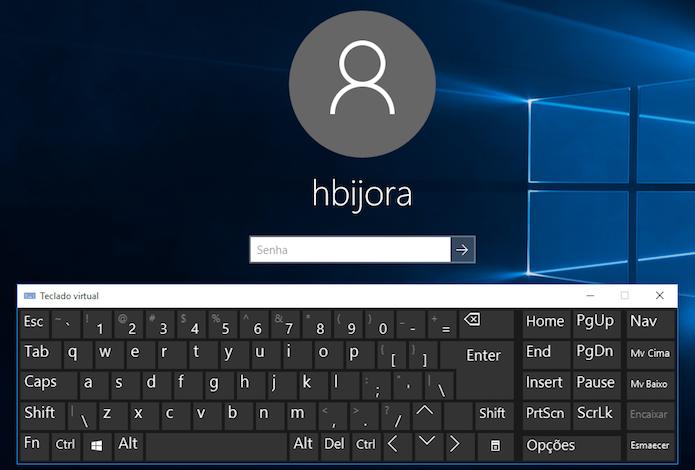 Digite a sua senha usando o teclado virtual (Foto: Reprodução/Helito Bijora)