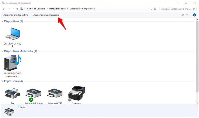 Adicionando impressora aos outros PCs. (Foto: Reprodução/Alessandro Junior)
