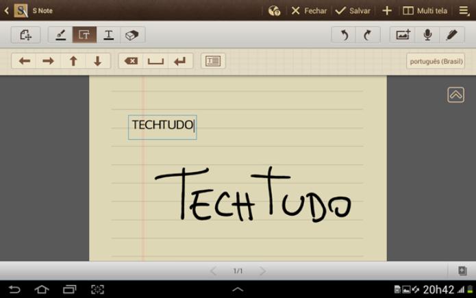 """O Galaxy Note 10.1 reconhece o texto digitado à mão e """"digita"""" (Foto: TechTudo)"""