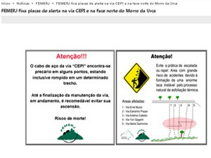 Alerta da FEMERJ a alpinistas (Foto: Internet/Reprodução)