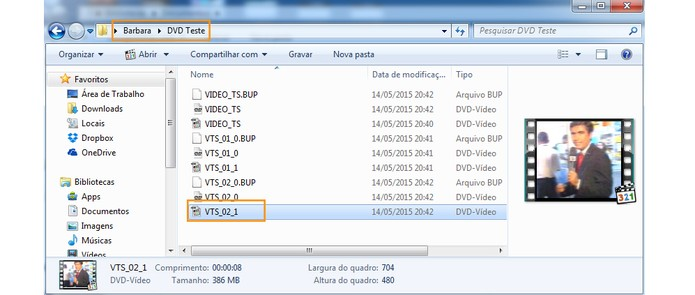 Os vídeos do DVD serão salvos com áudio e menu no computador (Foto: Reprodução/Barbara Mannara)