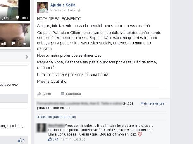 Postagem da internet confirma a morte da menina Sofia (Foto: Reprodução / Facebook)