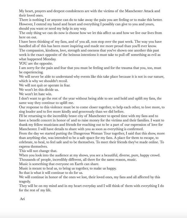 Ariana Grande faz desabafo após tragédia em Manchester (Foto: Reprodução)