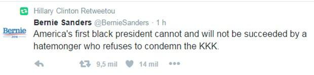 Hillary Clinton compartilhou mensagem de Bernie Sanders com crítica a Donald Trump (Foto: Reprodução/Twitter/Hillary Clinton)