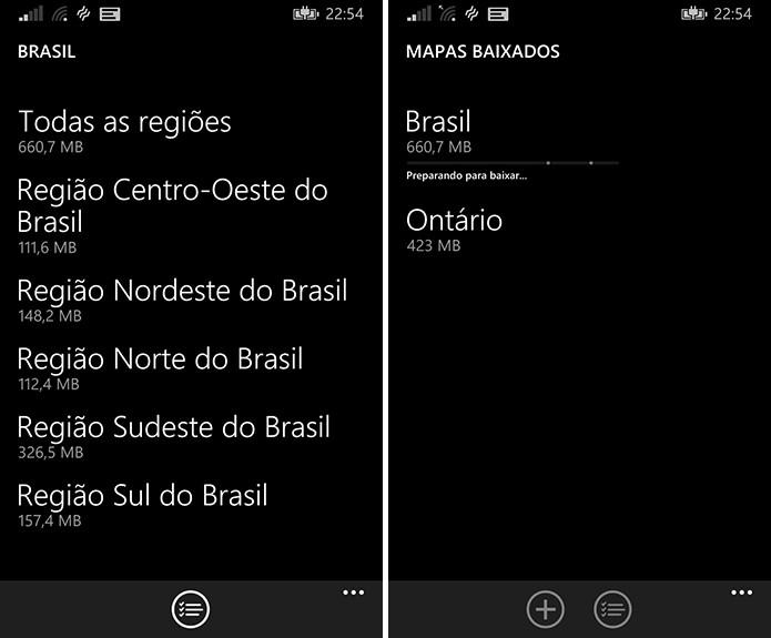 Windows Phone oferece a opção de baixar mapas para serem utilizados offline no aparelho (Foto: Reprodução/Elson de Souza)
