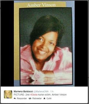 Imagem de Amber Vinson publicada no Twitter por jornalista da CNN, divulgada pela autoridade escolar de Akron, em Ohio (Foto: Reprodução/Twitter/MarlenaCNN)