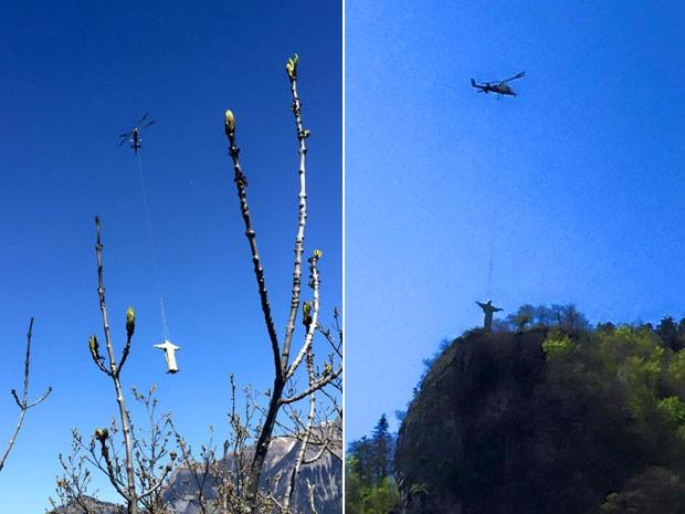 Imitação de Cristo Redentor foi levada de helicóptero até colina na Suíça (Foto: Reprodução/Facebook/Bad Ragartz)
