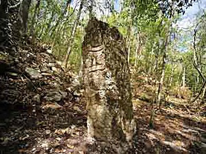 Batizado de Cactún (Pedra Vermelha ou Pedra Grande), área fica ao norte da Reserva da Biosfera de Calakmul e teve seu esplendor entre 600 e 900 d.C. (Foto: Instituto Nacional de Antropologia e História do México/Divulgação)