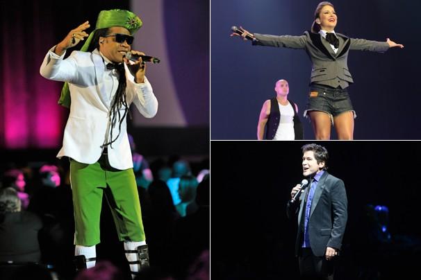 Os técnicos do The Voice, Carlinhos Brown, Cláudia Leitte e Daniel cantam sozinhos e juntos! Você vê hoje (Foto: Zé Paulo Cardeal/Globo)
