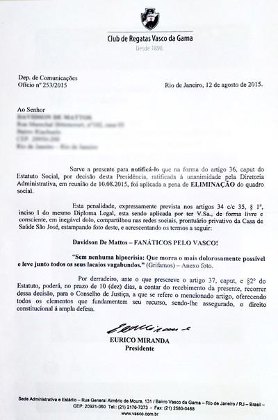 Documento Sócio Vasco (Foto: Reprodução)