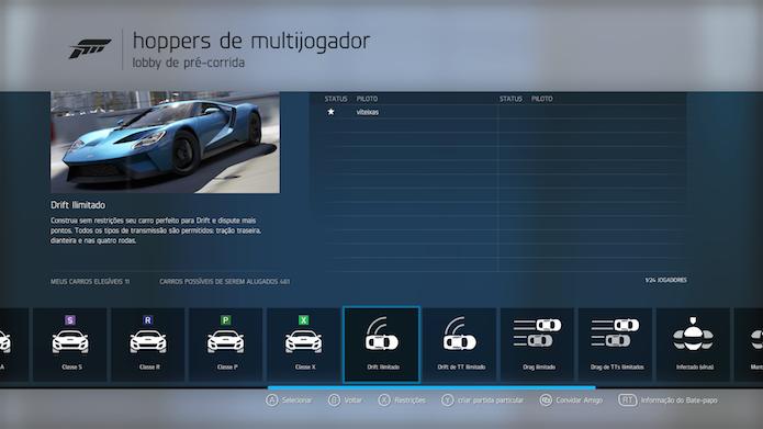 Lobby pré-corrida de Forza 6 tem dezenas de opções de corrida (Foto: Reprodução/Victor Teixeira)