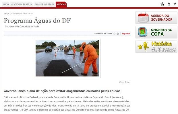 Notícia na agência de notícias do governo do Distrito Federal fala sobre o lançamento do Programa Águas do DF (Foto: Agência Brasília/Reprodução)