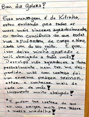 carta Felipe Kitadai judô companheiros (Foto: Reprodução / Facebook)
