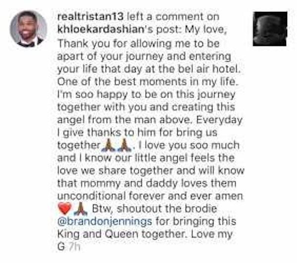 A declaração de amor e agradecimento feita por Tristan Thompson à namorada, Khloé Kardashian, grávida de seu primeiro filho (Foto: Instagram)