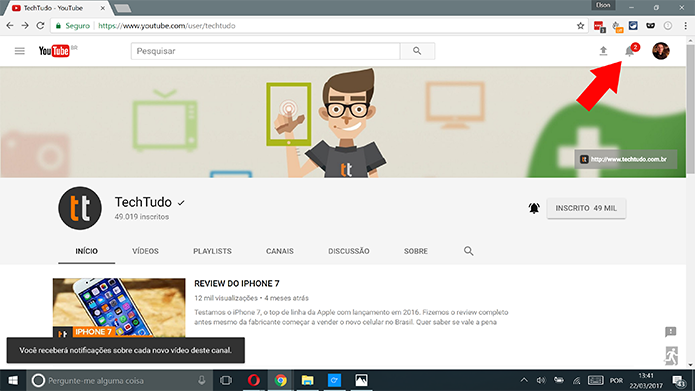 Notificações do YouTube serão exibidas no sino no topo da tela (Foto: Reprodução/Elson de Souza)