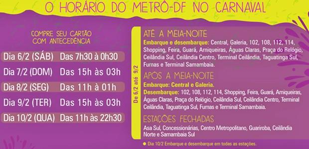 Horários de funcionamento do metrô no Carnaval do Distrito Federal (Foto: Metrô-DF/Divulgação)