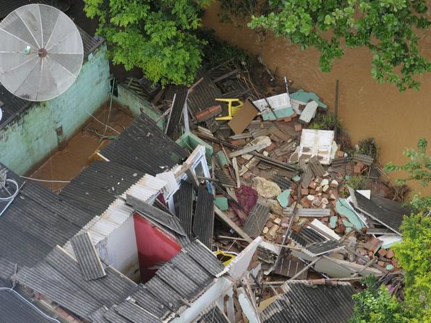 Município de Itaguaçu alagado por conta do excesso de chuva na região Noroeste do Espírito Santo. (Foto: Vitor Jubini/ A Gazeta)