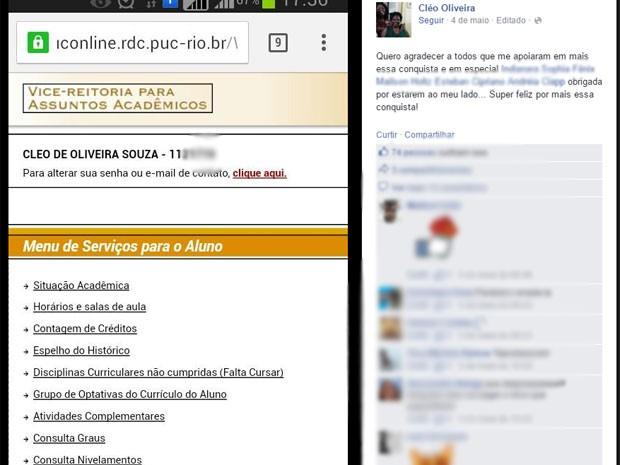 Cléo publicou no Facebook comemoração pelo reconhecimento da PUC-Rio ao alterar seu registro acadêmico (Foto: Reproução / Facebook)