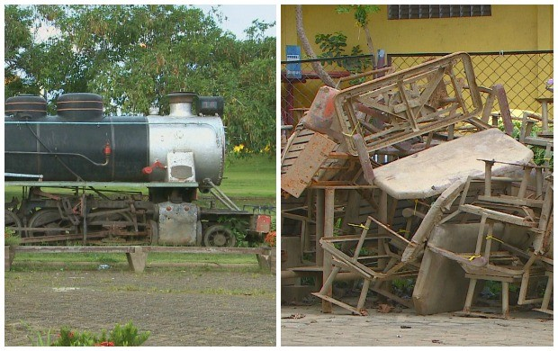 Estrada de Ferro Madeira Mamoré e Peças do Museu estão abandonadas, em Porto Velho (Foto: Bom Dia Amazônia)