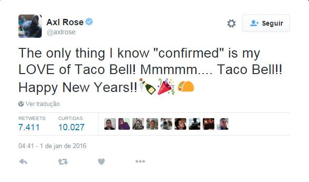 Axl Rose ironiza informação da revista Billboard (Foto: Reprodução / Twitter)