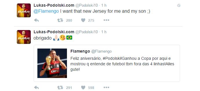 """BLOG: Podolski recebe """"feliz aniversário"""" do Flamengo, agradece e pede nova camisa"""
