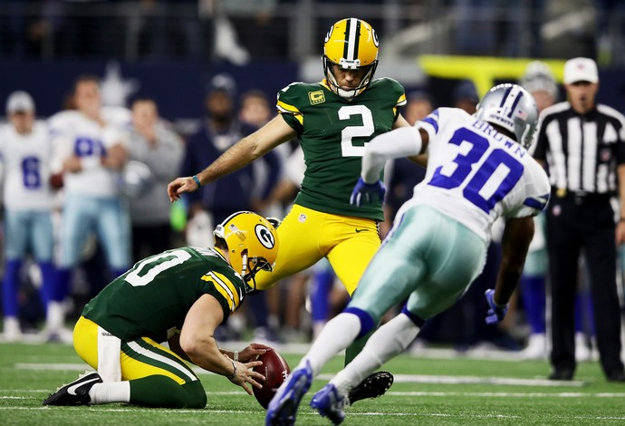 Mason Crosby acertou o field goal decisivo na vitória do Green Bay Packers sobre o Dallas Cowboys (Foto: Getty Images)