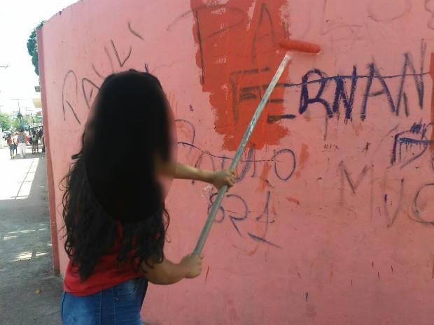 Pichação, escola, alunos, muro, tinta, punição, Amapá (Foto: Márcio Bacellar/Arquivo Pessoal)
