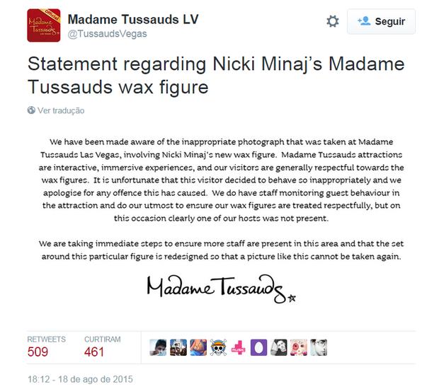 Madame Tussauds em comunicado no Twitter (Foto: Reprodução)