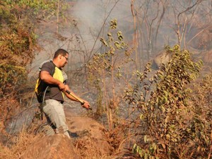 Brigadista combate fogo em Ibicoara (Foto: Tayne Luz Casca/Jornal da Chapada)