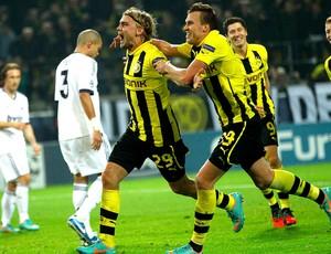 Marcel Schmelzer comemora gol do Borussia Dortmund contra o Real Madrid (Foto: Reuters)
