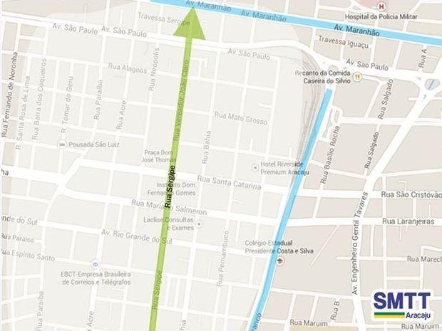 Fluxo na Rua Sergipe passa a ser apenas no sentido Av. Maranhão (Foto: Divulgação/SMTT)