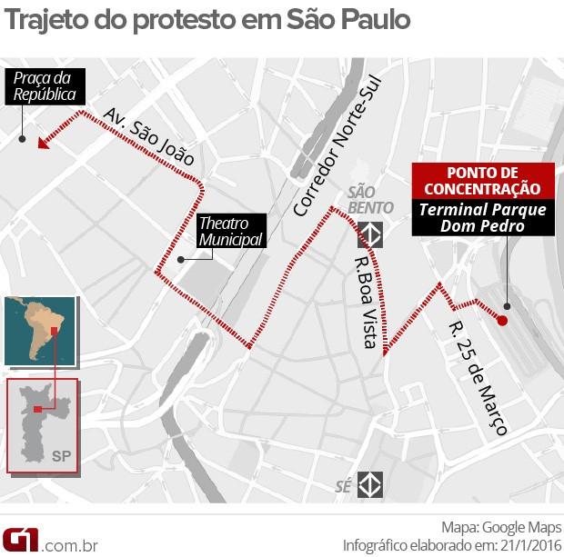 Mapa do protesto em São Paulo (Foto: Editoria de Arte/G1)