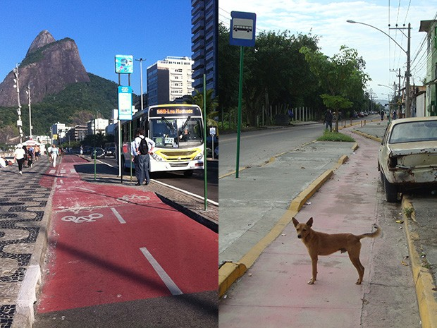 Ciclovias no Leblon (Zona Sul) e em Santa Cruz (Zona Oeste): realidades diferented no Rio (Foto: Mariucha Machado/G1)