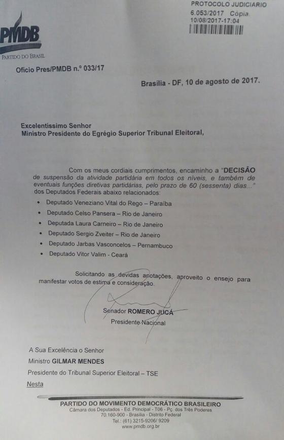 Documento com a lista de deputados punidos pelo PMDB nesta quinta-feira (Foto: Reprodução)