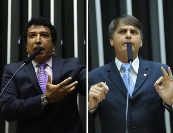 O senador Magno Malta (PR-ES) e o deputado Jair Bolsonaro (PSC / RJ) (Foto: Ananda Borges/Câmara dos Deputados e Lucio Bernardo Jr./Câmara dos Deputados)