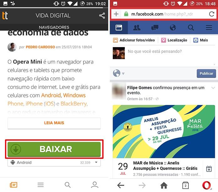 Opera Mini agora permite baixar vídeos do Facebook no Android (Foto: Reprodução/Elson de Souza)