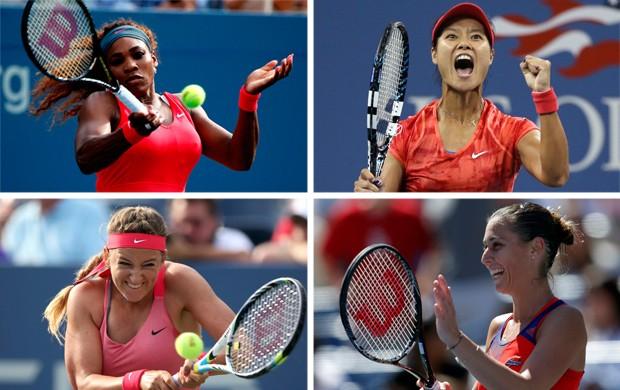 US Open semifinalistasSerena Williams, Na Li, Victoria Azarenka e Flavia Pennetta (Foto: Montagem sobre foto da Getty Images / Reuters)