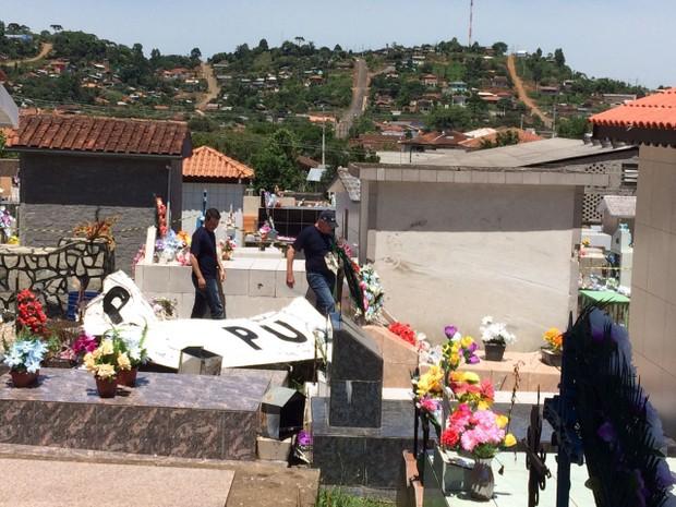 Monomotor caiu no cemitério municipal de Cruz Machado (Foto: Isabeli Zucheli/RPC)
