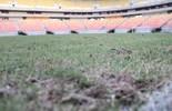"""Estádio """"cinco bolas"""", Arena AM exibe falhas no gramado em 1º jogo de 2016 (Marcos Dantas)"""