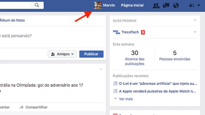 Acessando o perfil de usuário do Facebook para esconder a lista de amigos (Foto: Reprodução/Marvin Costa) (Foto: Acessando o perfil de usuário do Facebook para esconder a lista de amigos (Foto: Reprodução/Marvin Costa))