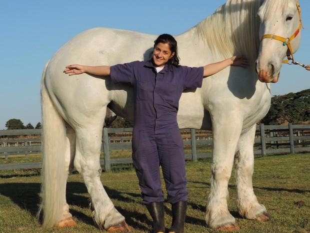 Estagiária de 1,50m ao lado do cavalo de 890 quilos (Foto: Caio Gomes Silveira/ G1)