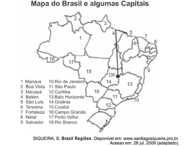 Mapa do Brasil com algumas capitais (Foto: Reprodução/ENEM)