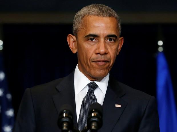 Obama faz pronunciamento sobre mortes em Dallas durante encontro da Otan, na Polônia (Foto: Jonathan Ernst/Reuters)